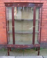 Bow Front Walnut Display Cabinet