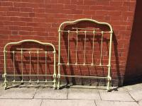 Cast Iron And Brass Painted Antique Bed