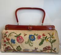 Vintage Embroidered Handbag With Amber Handle