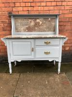Edwardian Painted Wash Stand Marble Top