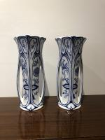 Art Nouveau Blue and White Vases