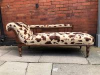 Edwardian Mahogany Day Bed - Cow Print Fabric