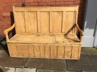 Welsh Rustic Pine Settle Bench C1890