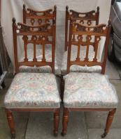 Set of Four Art Nouveau Oak Dining Chairs